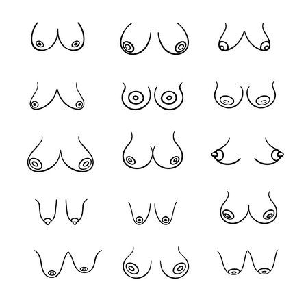 Ilustración de Set of contour round icons of different female breast size, body front view. Various busts sizes, from small to large. Different Types, Size and Form boobs. Vector isolated, monochrome - Imagen libre de derechos