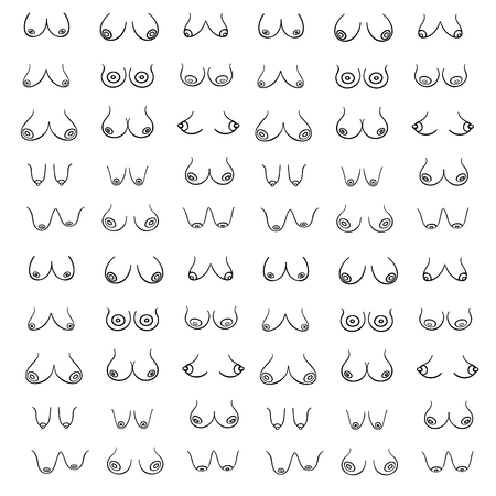 Sexy, erotical print wiht Female breast of different Types, Sizes and Forms on a white background. Female Breast Vector pattern in graphic style (hand-drawn). Creative illustration