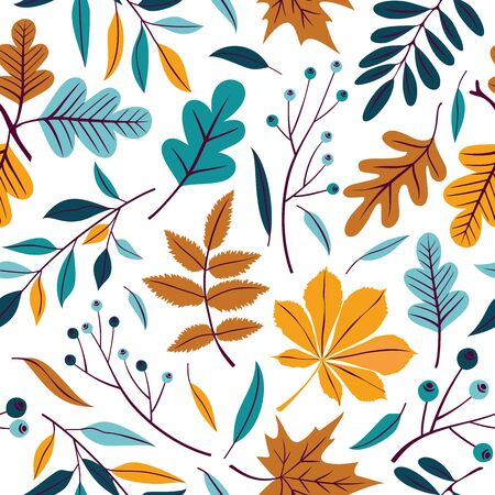 Illustration for Vector seamless pattern of autumn leaves, branches and berries. - Royalty Free Image