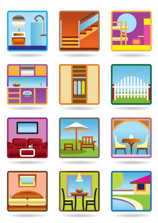 Home and gerden furniture icon set