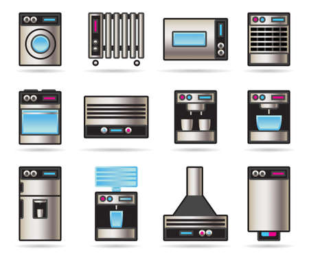 Household Appliances icons set illustration