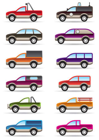 Different off road and SUV cars  illustration