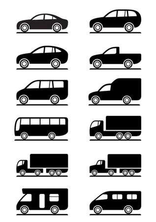 Foto de Road transportation icons set illustration - Imagen libre de derechos