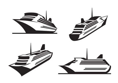 Cruise ships in perspective - illustration
