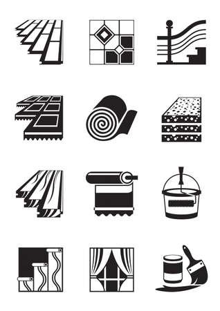 Decoration materials for interior - vector illustration