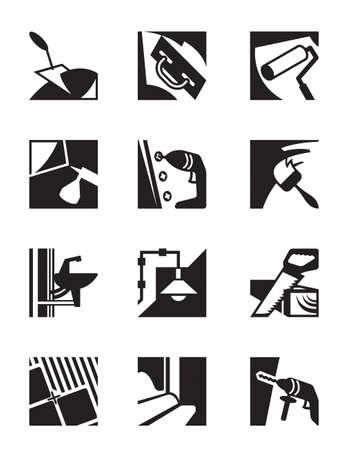 Construction tools and materials - vector illustration