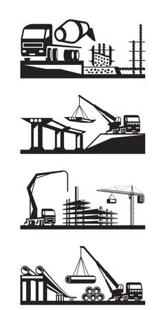 Various types of construction scenes - vector illustration