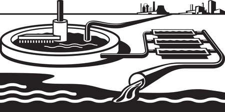 Illustration pour Water treatment plant - illustration - image libre de droit