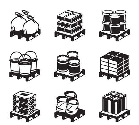 Illustration pour Pallets with building materials - illustration - image libre de droit