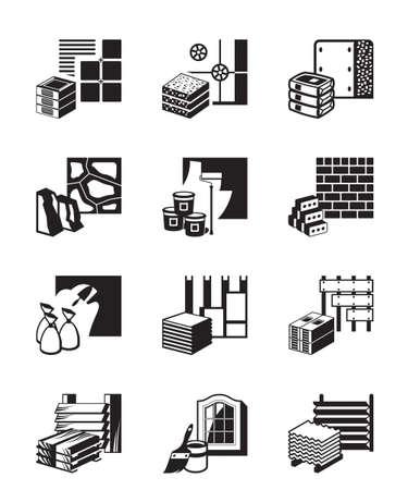 Illustration pour Construction materials and building details - image libre de droit