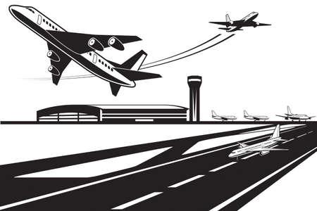Ilustración de Planes waiting for their turn to take off - Imagen libre de derechos