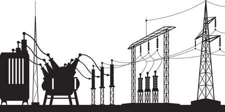 Illustration pour Power grid substation - vector illustration - image libre de droit