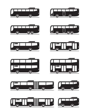 Illustration for Various public transport buses - vector illustration - Royalty Free Image