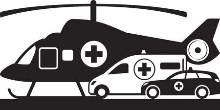 Illustration for First aid on land and air – vector illustration - Royalty Free Image