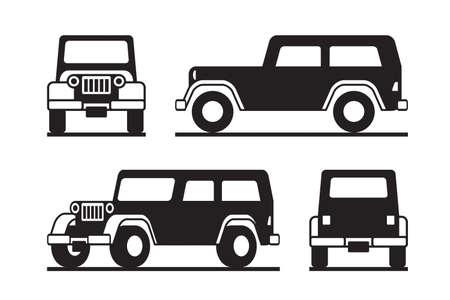 Illustration pour Off road vehicle in perspective - image libre de droit