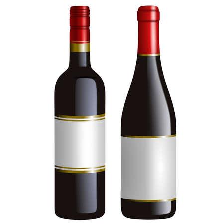 Illustration pour isolated red wine bottles realistic illustration - image libre de droit