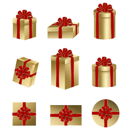 Illustration pour set isolated gold gift boxes with red bow and ribbon - image libre de droit