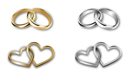 Illustration pour set of gold and silver wedding rings. heart-shaped and round-shaped rings - image libre de droit