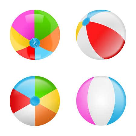 Illustration pour Set of colorful beach balls. Collection of inflatable rubber balls - image libre de droit