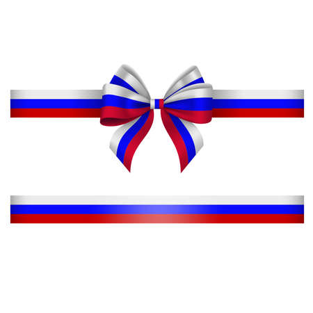 Illustration pour Tricolor bow and ribbon. white, blue and red bow with ribbon. russian flag colors - image libre de droit