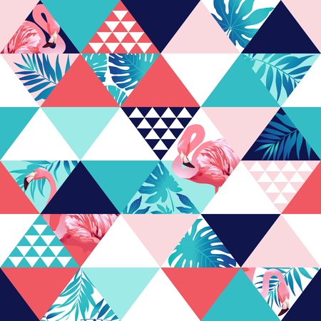 Ilustración de Exotic beach trendy seamless pattern, patchwork. Jungle pink flamingos Wallpaper print background mosaic - Imagen libre de derechos
