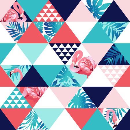 Ilustración de Exotic beach trendy seamless pattern, patchwork. Jungle pink flamingos Wallpaper print background mosaic - Imagen libre de derechos