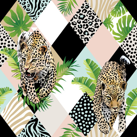 Illustration for Tropical palm leaves and exotic leopard background. - Royalty Free Image