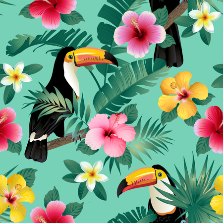 Illustration for Tropical birds and palm leaves seamless background. Vector. - Royalty Free Image