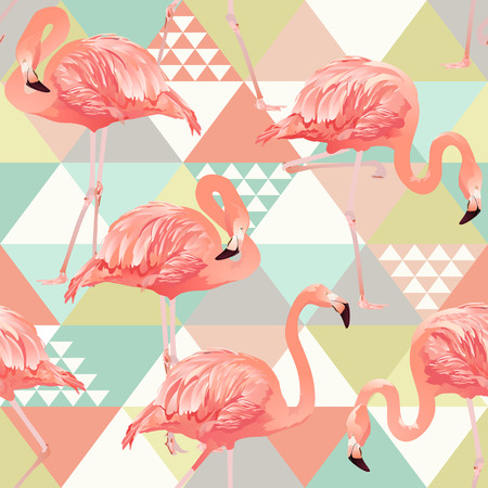 Illustration for Jungle pink flamingos. Wallpaper print background mosaic. Exotic beach trendy seamless pattern, patchwork illustrated floral vector tropical banana leaves. - Royalty Free Image