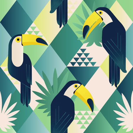 Illustration for Exotic beach trendy seamless pattern, patchwork. Jungle toucan. Wallpaper print background mosaic. - Royalty Free Image