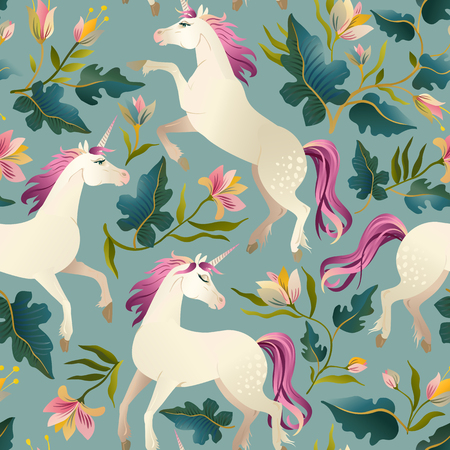 Illustration pour Hand drawn vintage Unicorn in magic forest seamless pattern. Vector illustration. - image libre de droit