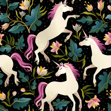 Ilustración de Seamless pattern with beautiful unicorns. Vector magic background for kids design. - Imagen libre de derechos