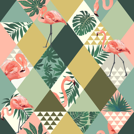 Illustration for Exotic beach trendy seamless pattern with pink flamingos print. - Royalty Free Image