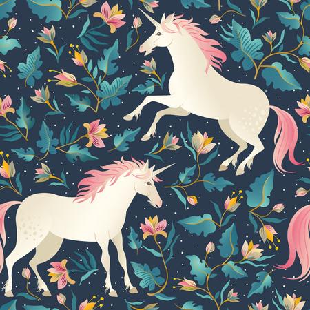 Illustration pour Seamless pattern with beautiful unicorns. Vector magic background for kids design - image libre de droit