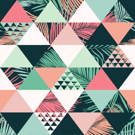 Ilustración de Abstract trendy seamless pattern illustrated floral vector tropical leaves. Wallpaper print background. - Imagen libre de derechos