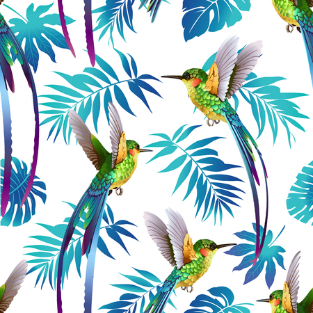 Illustration pour Hummingbird and Tropical Flowers Background Seamless pattern vector. - image libre de droit