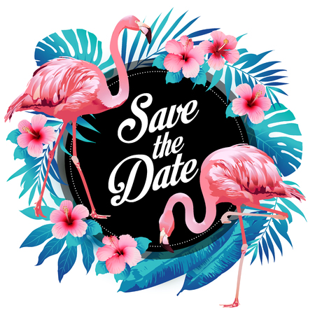 Illustration for Blue summer tropical palm leaves exotic flamingo and hibiscus flowers. Vector floral background. - Royalty Free Image