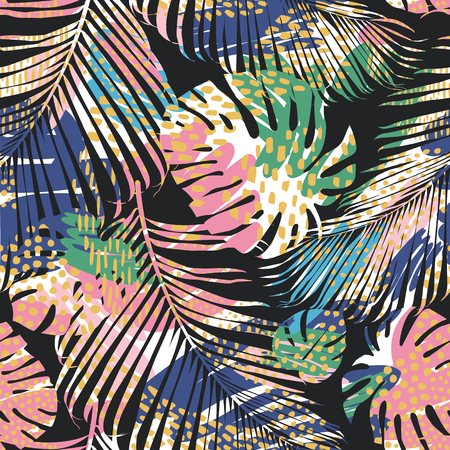Illustration for Tribal seamless pattern with abstract leaves. Hand draw. Vector template. - Royalty Free Image