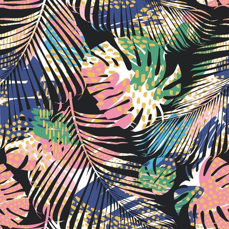 Ilustración de Tribal seamless pattern with abstract leaves. Hand draw. Vector template. - Imagen libre de derechos