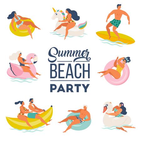 Ilustración de Pool Party doodle set. Happy people. Summer outdoor activities and festive decoration. Vector illustration isolated on white background. - Imagen libre de derechos