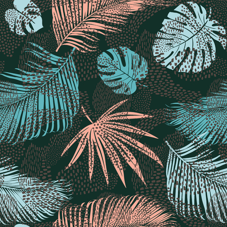 Illustration for Trendy seamless exotic pattern with tropical plants and animal prints. Vector illustration. Modern abstract design paper, wallpaper, cover, fabric, interior decor. - Royalty Free Image