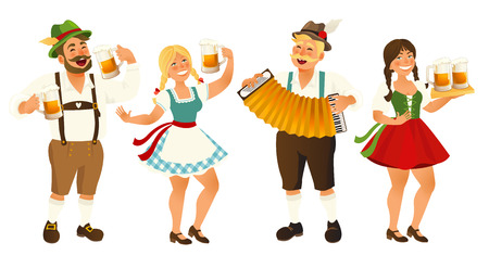 Ilustración de People in traditional German, Bavarian costume holding beer mugs, Oktoberfest, cartoon vector illustration isolated on white background. Full length portrait of German people in traditional costumes. - Imagen libre de derechos