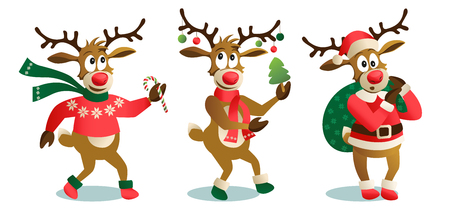 Ilustración de Cute and funny Christmas reindeers, cartoon vector illustration isolated on white background reindeer with Christmas tree, gifts and dancing, having fun, decoration elements. - Imagen libre de derechos