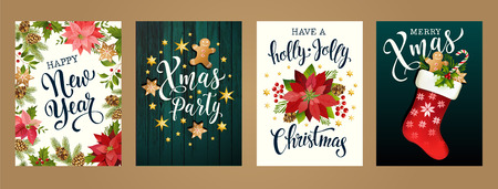 Ilustración de Merry Christmas and Happy new year 2019 white and black colors. Design for poster, card, invitation, card, flyer, brochure. Vector illustrations. - Imagen libre de derechos
