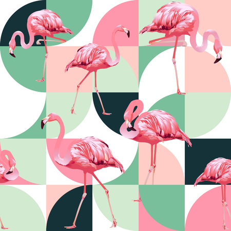 Illustration for Exotic beach trendy seamless pattern, patchwork illustrated floral vector tropical banana leaves. Jungle pink flamingos. - Royalty Free Image