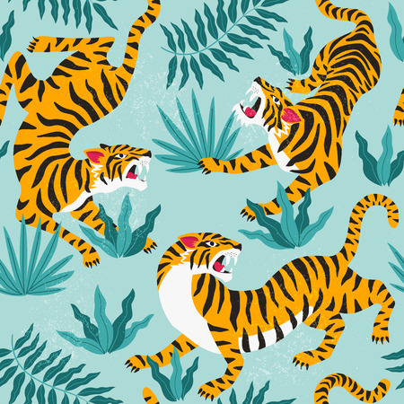 Illustration for Vector seamless pattern with cute tigers on background. Fashionable fabric design. - Royalty Free Image