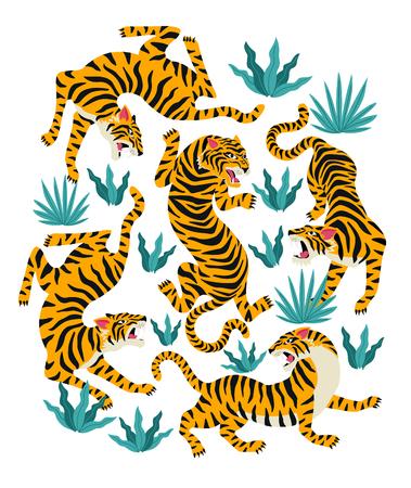 Illustration pour Vector set of tigers and tropical leaves Trendy illustration. - image libre de droit