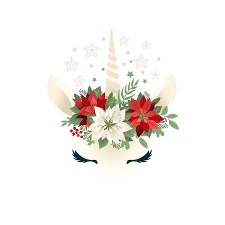 Ilustración de Head of hand drawn unicorn with floral wreath on white background. - Imagen libre de derechos