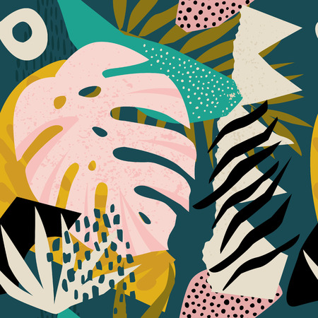 Illustration for Collage contemporary floral hawaiian pattern in vector. Seamless surface design. - Royalty Free Image