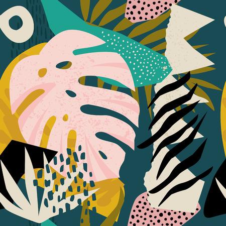 Ilustración de Collage contemporary floral hawaiian pattern in vector. Seamless surface design. - Imagen libre de derechos